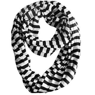 Lightweight Striped Jersey Infinity Loop Scarf (Black/White)