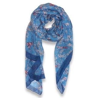 Pretty Vintage Floral Blossom Hummingbird Print Sheer Scarf (Blue)
