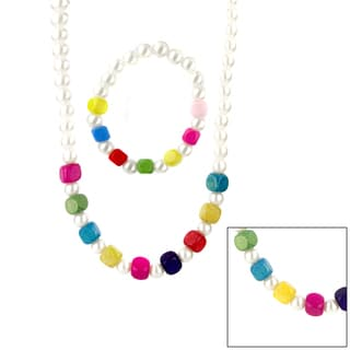 Children's Faux Pearl and Colorful Wooden Bead Jewelry Set