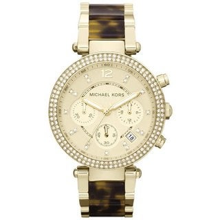 Michael Kors MK5688 Women's Chronograph Parker Tortoise Gold-Tone Stainless Steel Bracelet Watch