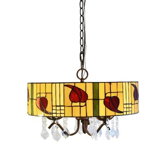 Rosy 3-light Tiffany-style Crystal Hanging Lamp