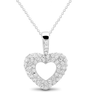 Sterling Silver Cubic Zirconia Open Heart 18-inch Necklace