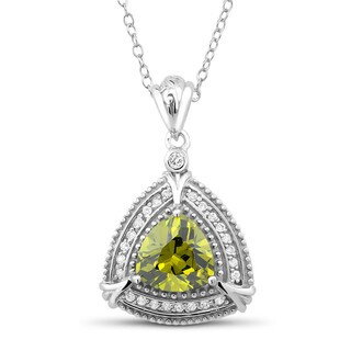 Sterling Silver Triangle-cut Peridot Cubic Zirconia Necklace