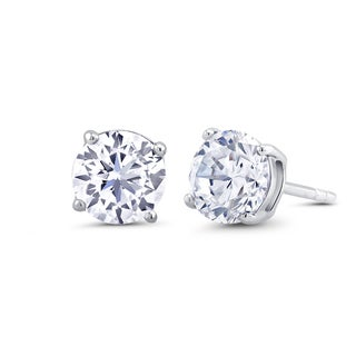 Sterling Silver 3mm Round Cubic Zirconia Stud Earrings