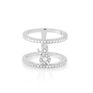 Sterling Silver Cubic Zirconia Double-row Snake Ring