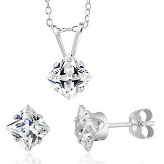 Sterling Silver Princess-cut April Cubic Zirconia Birthstone Stud Earrings and Necklace Set
