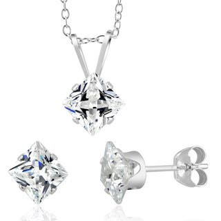 Sterling Silver Princess-cut April Cubic Zirconia Birthstone Stud Earrings and Necklace Set|https://ak1.ostkcdn.com/images/products/10282039/P17397242.jpg?impolicy=medium