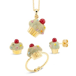 Goldplated Black Epoxy Cupcake Multi-colored Cubic Zirconia Sprinkles 3-piece Jewelry Set