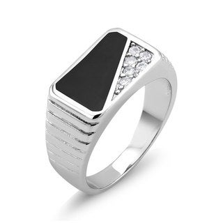 White Goldplated Men's Onyx and Cubic Zirconia Ring