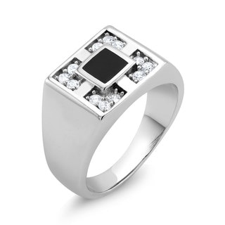 White Goldplated Men's Four Square Onyx and Cubic Zirconia Ring