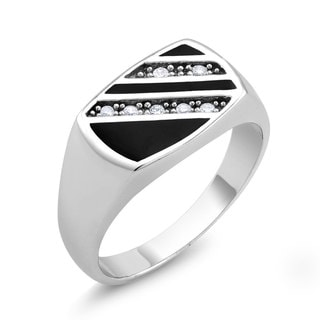 White Goldplated Men's 3-row Onyx and Cubic Zirconia Square Ring