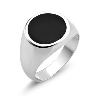 White Goldplated Men's Round Onyx Ring