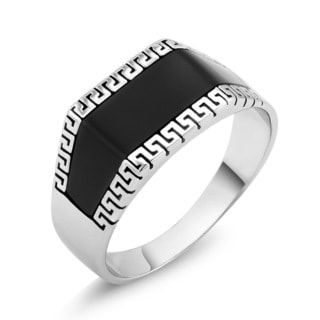 White Goldplated Men's Greek Style Onyx Square Ring