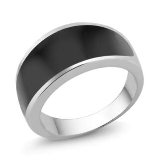 White Goldplated Men's Onyx Ring