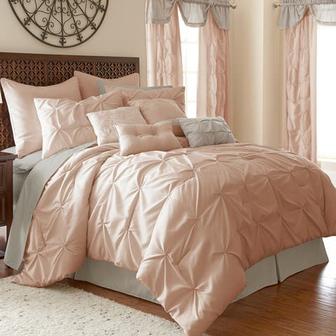 Amraupur Overseas Ella Pintuck 24-piece Bed in a Bag Set