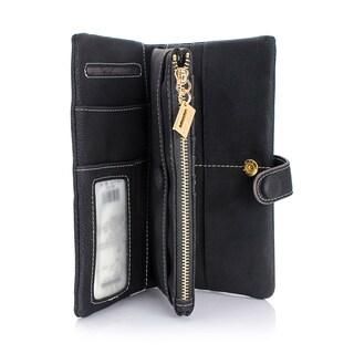 Women's Gearonic Fashion Lady Button Long Leather Wallet