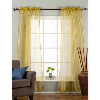 Handmade Olive Gold 43 x 84 Sheer Rod Pocket Curtain Drape Panel (India)