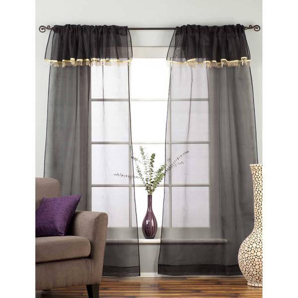 Handmade Sheer Black 43 x 84 Rod Pocket Curtains with Beaded Valance (India)