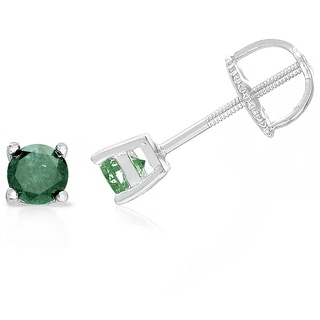 Finesque Sterling Silver, Gold Over Sterling Silver or Platinum Over Sterling Silver 1 ct TDW Green Diamond Stud Earrings