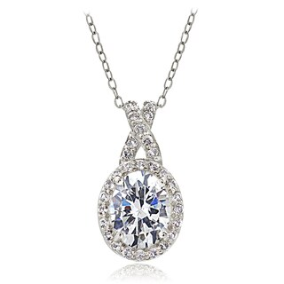 Icz Stonez Sterling Silver Cubic Zirconia X and Oval Drop Necklace