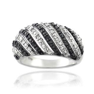 DB Designs 1/2ct TDW Black and White Diamond Wave Ring