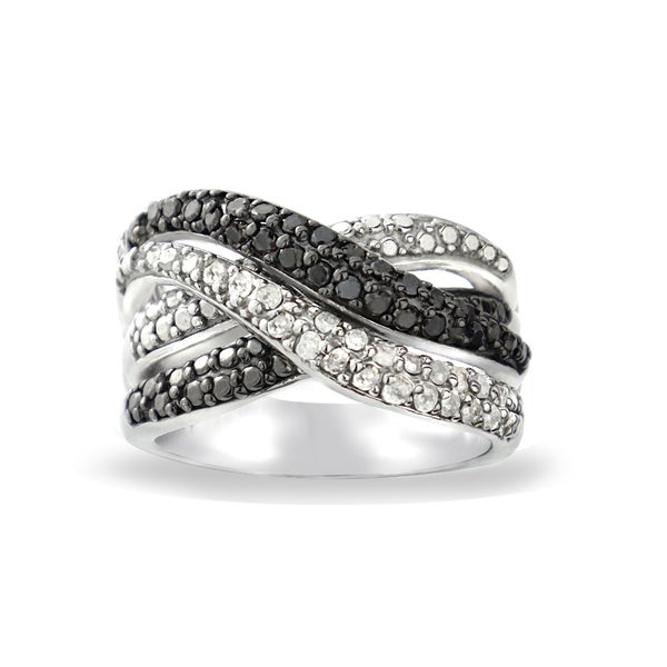 DB Designs 1/2ct TDW Black and White Diamond Crossover Ring