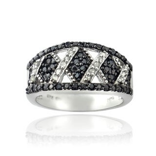 DB Designs 1/2ct TDW Black and White Diamond X Design Ring