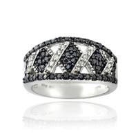 DB Designs 1/2ct TDW Black and White Diamond x Design Ring