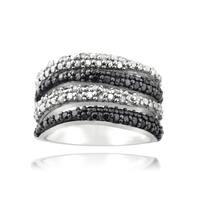 DB Designs 1/2ct TDW Black and White Diamond Wave Ring - White I-J