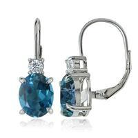 Glitzy Rocks Sterling Silver London Blue and White Topaz Dangle Earrings