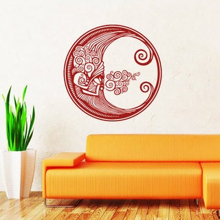 Sun Moon Crescent Dual Ethnical Stars Symbol Vinyl Sticker Wall Art