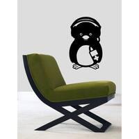 Penguin with Headphones Vinyl Sticker Wall Art