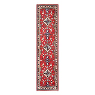 Herat Oriental Afghan Hand-knotted Tribal Vegetable Dye Kazak Red/ Ivory Wool Rug (2'8 x 10'4)
