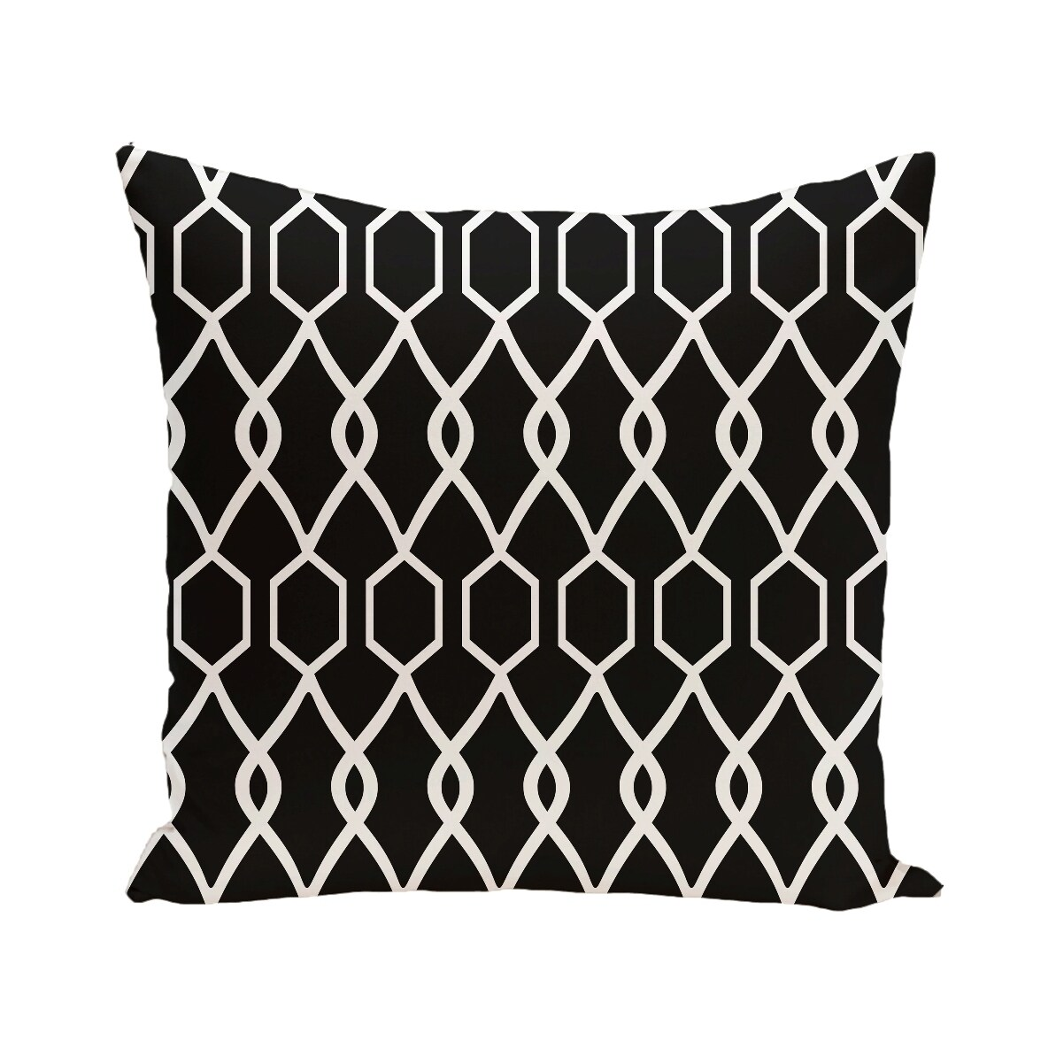 Geometric Print Blue/ Black/ Grey/ Yellow/ Brown 28-inch x 28-inch Decorative Indoor Floor Pillow (Navy Blue)