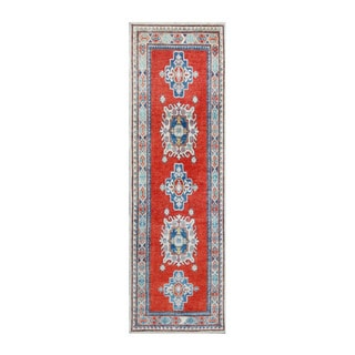 Herat Oriental Afghan Hand-knotted Tribal Vegetable Dye Kazak Wool Runner (2'9 x 8'8)
