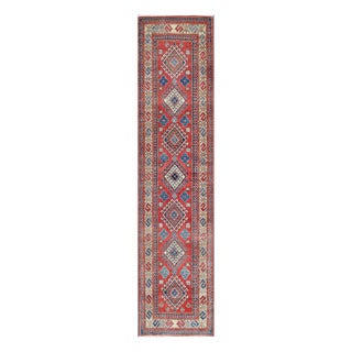 Herat Oriental Afghan Hand-knotted Tribal Vegetable Dye Kazak Red/ Ivory Wool Rug (2'8 x 11'4)