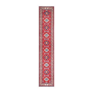 Herat Oriental Afghan Hand-knotted Tribal Vegetable Dye Kazak Red/ Ivory Wool Rug (2'3 x 12'4)
