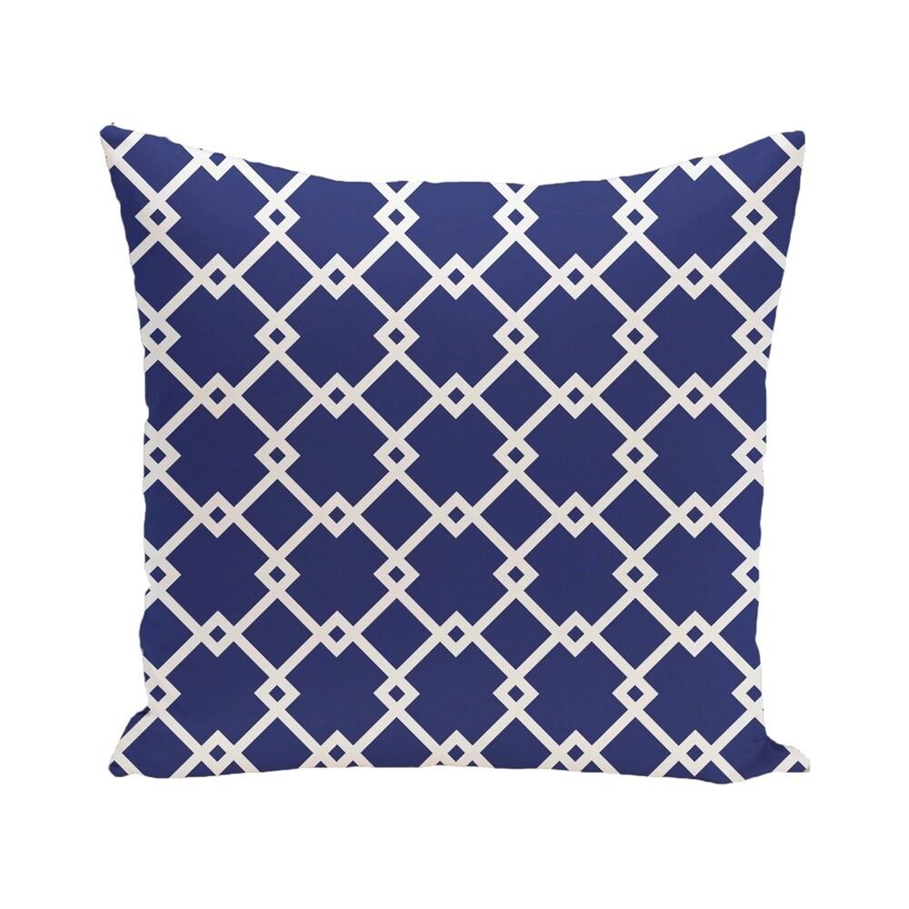 Shop Link Lock Geometric Print Blue/ Red/ Green/ Purple 28-inch x 28-inch Decorative Indoor Floor Pillow - Overstock - 10282777