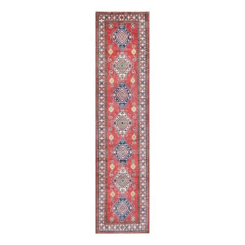 Handmade Herat Oriental Afghan Tribal Vegetable Dye Kazak Wool Runner - 2'7 x 11'1 (Afghanistan)