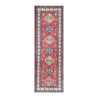Herat Oriental Afghan Hand-knotted Tribal Vegetable Dye Kazak Red/ Ivory Wool Area Rug (3' x 8'11)