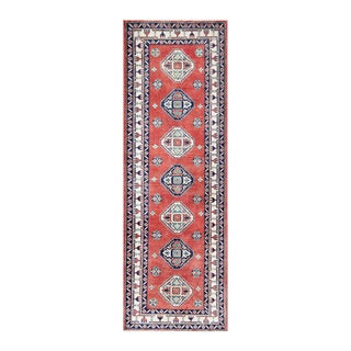 Herat Oriental Afghan Hand-knotted Tribal Vegetable Dye Kazak Wool Runner (3' x 8'11)