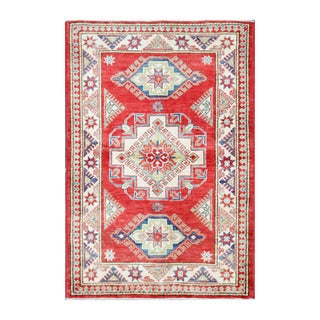 Herat Oriental Afghan Hand-knotted Tribal Vegetable Dye Kazak Red/ Ivory Wool Area Rug (3'4 x 4'11)