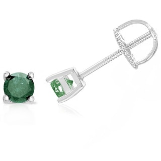 Finesque Sterling Silver, Gold Over Sterling Silver or Platinum Over Sterling Silver 1/2 ct TDW Green Diamond Stud Earrings