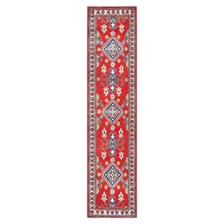 Herat Oriental Afghan Hand-knotted Tribal Vegetable Dye Kazak Red/ Ivory Wool Area Rug (2'7 x 10'5)