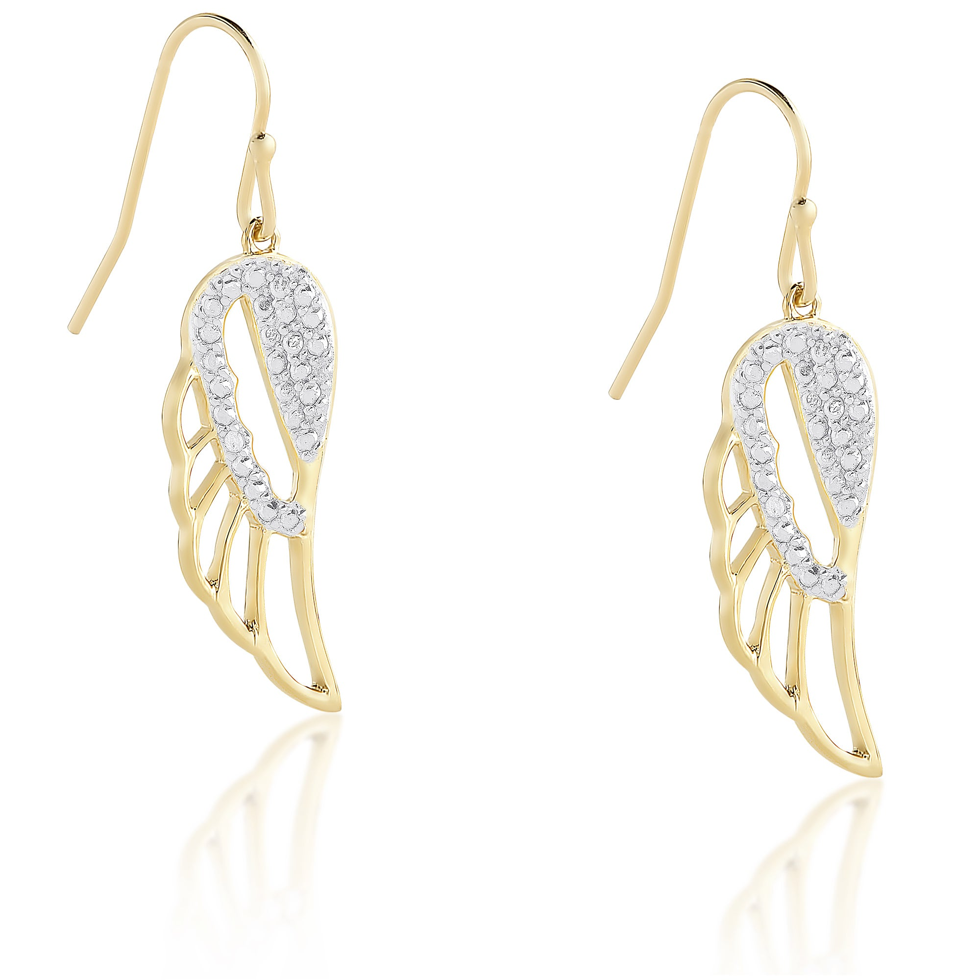 Finesque Sterling Silver Or Gold Over Diamond Dangling Angel Wing Earrings