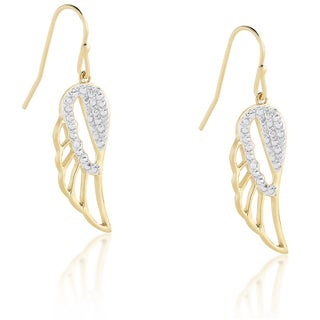Finesque Sterling Silver or Gold Over Silver Diamond Dangling Angel Wing Earrings