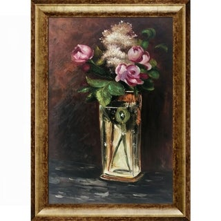 Edouard Manet 'Flowers in A Crystal Vase II' Hand Painted Framed Canvas Art