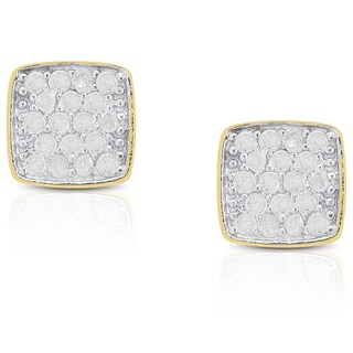 Finesque Sterling Silver Diamond Accent Square Stud Earrings
