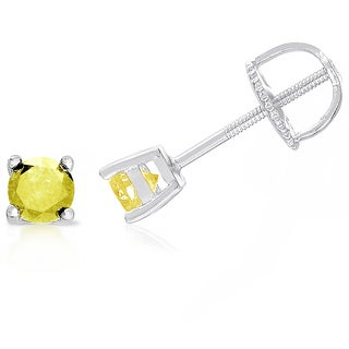 Finesque Sterling Silver, Gold Over Sterling Silver or Platinum Over Sterling Silver 3/4 ct TDW Yellow Diamond Stud Earrings