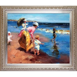 Edward Potthast 'At the Beach' Hand Painted Framed Canvas Art
